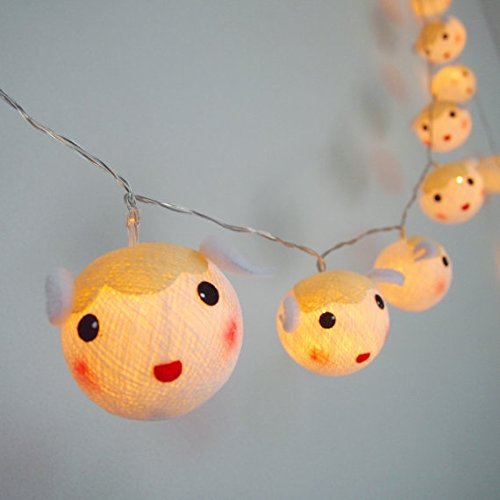 Cutie Sheep cotton ball string lights for Kids party, Paty,Wedding, Christmas Lights, Party Lights, Fairy Light and Decoration, fairy lights/ Battery AA LED 25 lights by Thai Decorated