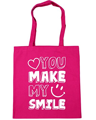 HippoWarehouse YOU MAKE mi sonrisa Tote Compras Bolsa de playa 42cm x38cm, 10litros fucsia