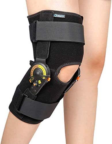 Nvorliy Hinged ROM Knee Brace Adjustable Knee Immobilizer Support for Arthritis, ACL, PCL, Meniscus Tear, Tendon, Osteoarthritis, Post OP Recovery - Leg Stabilizer for Men & Women (Large)