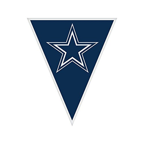 Amscan Licensed MLB Party Pennant Banners Decoration, Plastic, 12' Childrens (6 Piece), Dallas Cowboys, (Mlb Licensed Banners)