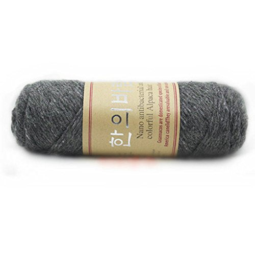 Celine lin One Skein Thick Warm Alpaca Wool Mink Cashmere Knitting Yarn 100g,Dark Grey