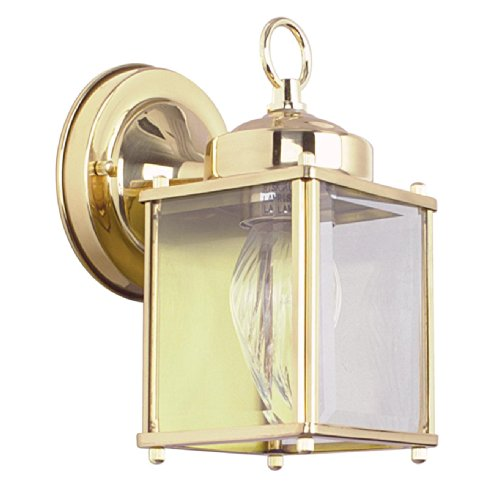 Sunset Lighting F6840-10 Outdoor Wall Sconce with Clear Beveled Glass, Polished Brass Finish 10 Polished Brass Outdoor Sconce