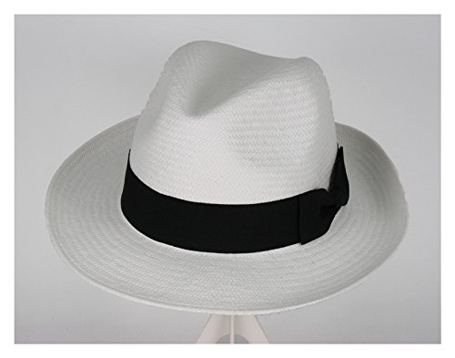 [Men's Fedora Hat with Band White (Large)] (Pimp Hat With Feather)