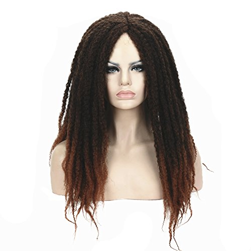 StrongBeauty Afro Kinky Curly Wigs Twist Crochet Reddish Wig For Black Women (2-30 Reddish Brown (Black Long Wig With Two Braids)