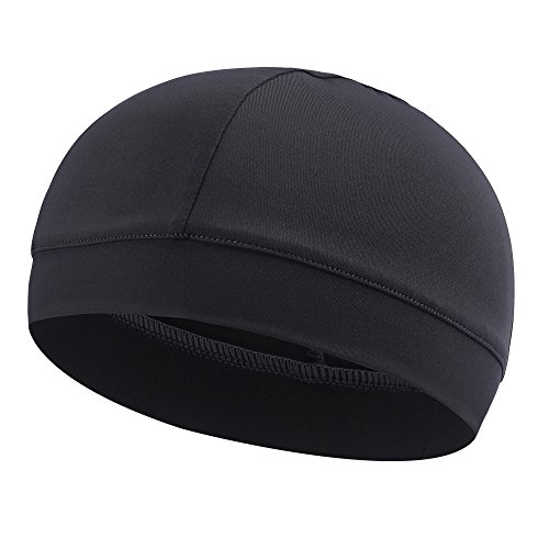 re Wicking Elastic Skull Cap Helmet Liner Bandana Beanie Hat for Outdoor Cycling Running Sport Motorcycle Microfiber, Grey ()