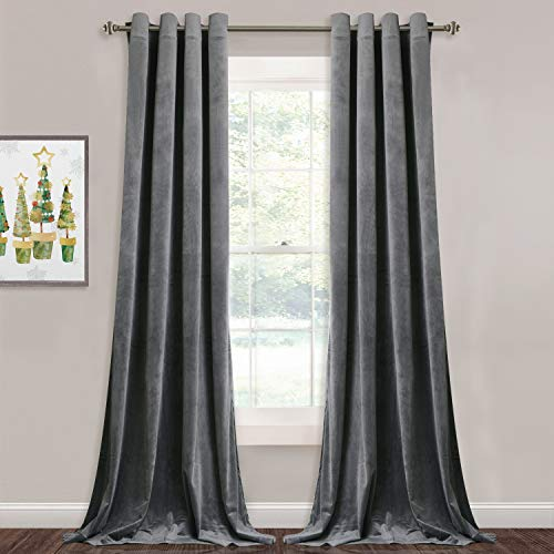 StangH Gray Velvet Curtains 84-inch - Elegant Home Decor Room Darkening Velvet Drapes Heat Insulated Window Covering Shade Panels for Living Room/Office, Grey, W52 by L84, One Pair