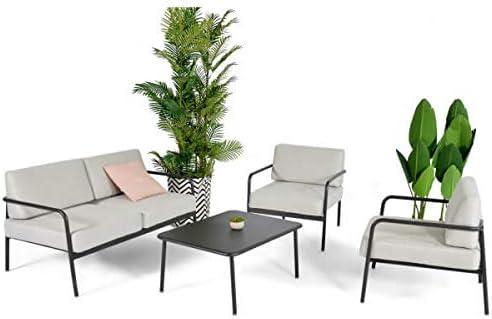 MATHI DESIGN Sunset – Salón de jardín gris claro: Amazon.es: Hogar