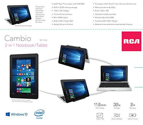 RCA Cambio 10 116 Tablet 32GB Intel Quad Core Windows 10 Touchscreen Laptop  Computer with Bluetooth and WiFi
