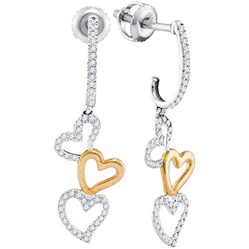 - Mia Diamonds 10kt Two-tone White Gold Womens Round Diamond Dangling Triple Heart Earrings (.25cttw) (I2-I3)
