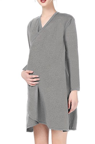 Comfortable Maternity Hospital Gown For Labor  Delivery  Nursing Breastfeeding   2017 Design L Grey1