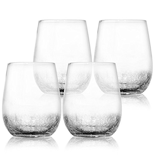 - 4 Pack Crackle Decorative Wine Glasses 15 oz- Elegant and Partially Crackled- Set of 4 Fancy Wine Glasses- Unique Handmade Design Sparkles Like Fractured Ice- Impressive for Red & White Wine- Vintage