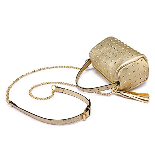 Small with Shoulder Gold Mini Purse Clutch Bling Side Bag Rivets YxO4POq5