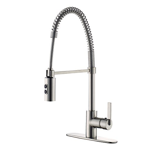 TimeArrow TAF852R-MT Modern Commercial Matte Black Pull Down Sprayer Kitchen Faucet, Single Handle Kitchen Sink Faucet With Deck Plate