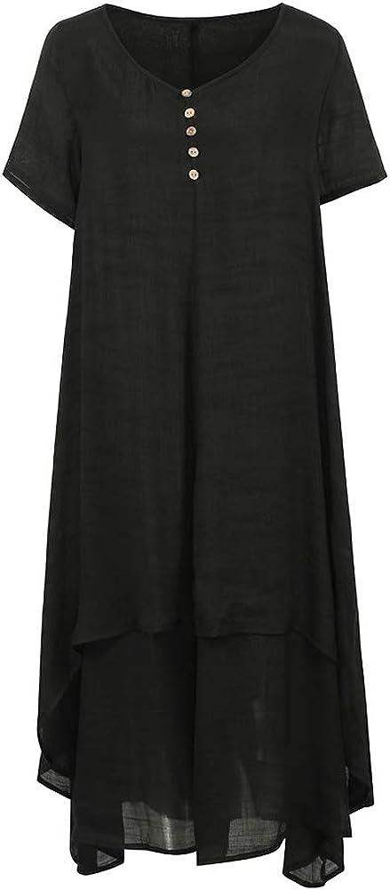 UK 8-24 Women Summer Casual Plain Vintage Solid Retro Plus Size Maxi Long Dress