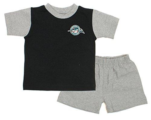 Florida Marlins MLB Baby Boys Infant Retro Shirt and Shorts Set, Black-Grey (18 Months) (Shirt Florida Marlins)