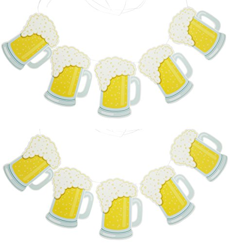 Beer Party Decoration - Gold Glitter Brew Steins Garland - Set of 2, 14ft long Pennant Banners to Decorate for Oktoberfest (Beer Mood)