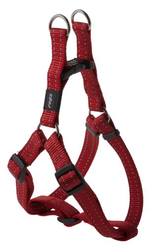 Reflective Adjustable Dog Step in Harness for Medium Dogs; matching collar and leash available, Red