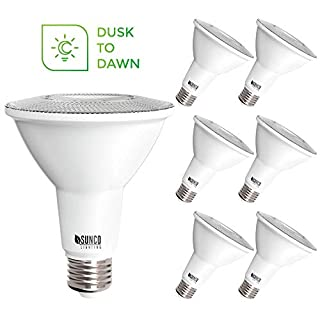 Sunco Lighting 6 Pack PAR30 LED Bulb, Dusk-to-Dawn Photocell Sensor, 11W=75W, 5000K Daylight, 850 LM, Auto On/Off Security Flood Light - UL