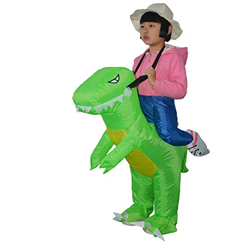 IKTricycle Ride On Animal Toys - Light Green Dinosaur Inflatable Costume for Children Ride-on Outdoor Toys Carnival Halloween Christmas Dino Party Cosplay Toys 1 PCs ()