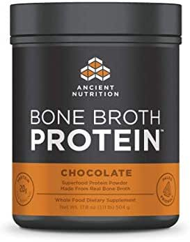 Ancient Nutrition Bone Broth Protein Powder, Dairy Free, Gluten Free and Paleo Friendly, Chocolate Flavor, 20 Servings