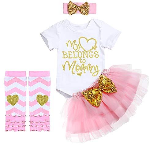 Newborn Baby Girl Outfit Bodysuit My Heart Belongs to Mommy Tutu Dresses+Headband+Leggings Clothes 4PCs Skirt Set White