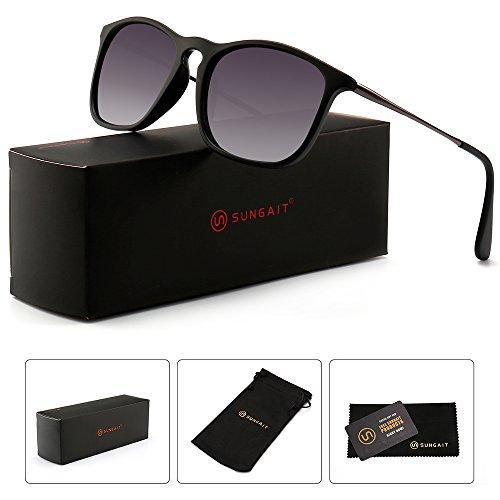SUNGAIT Classic Square Frame Sunglasses Retro Style for Men Women (Black Frame/Grey Gradient Lens, 54) Composite ()