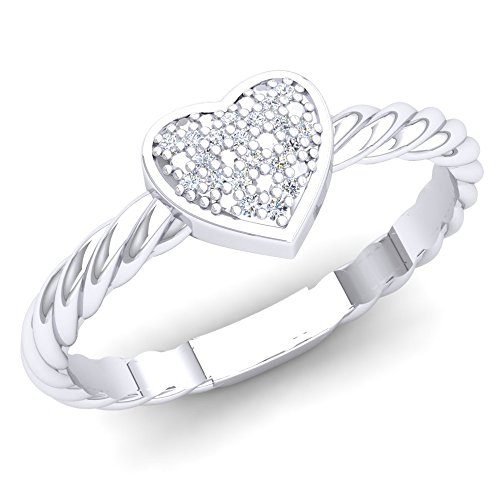 (Dazzlingrock Collection 0.06 Carat (Ctw) Sterling Silver Round White Diamond Ladies Bridal Heart Shaped Promise Ring, Size 5.5 )