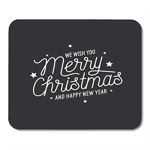 Semtomn Mouse Pad Merry Christmas and Happy New Year Lettering Monochrome Wish Mousepad 9.8