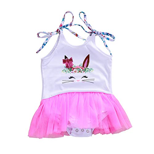 Easter Kids Newborn Baby Girls Floral Bunny Rabbit Romper Outfits Ruffles Tutu Skirt Jumpsuit Bodysuit Clothes Set (Floral Bunny, 12-18 Months)