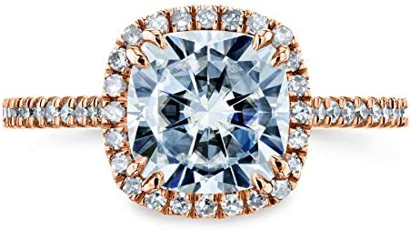 Kobelli Cushion Moissanite Halo Engagement Ring 2 1/4 CTW 14k Rose Gold