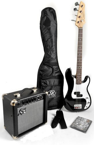 SX Ursa 1 JR RN PK BK Black 3/4 Size Bass Guitar Package w/Free Carry Bag, Amp and DVD by SX