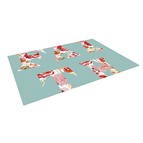 KESS InHouse Suzanne Carter ''Faith'' Blue Red Outdoor Floor Mat, 4' x 5' by Kess InHouse