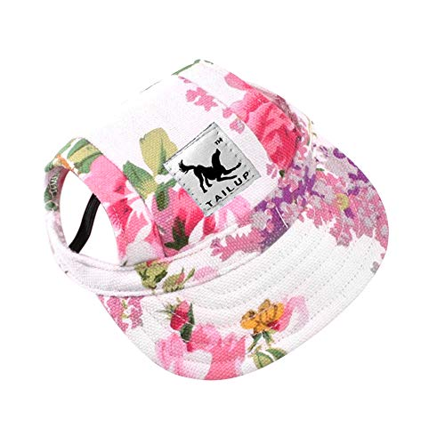 Happy Hours - Dog Pet Cat Canvas Oxford Fabric Hat Sports Baseball Cap Ear Holes Sunhat with Adjustable Neck Elastic Leather Rope Strap (Flowers, Size L)