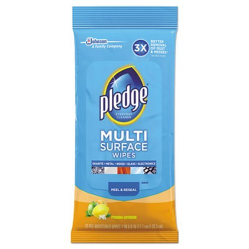 Pledge Multi Surface Everyday Wipes 25 ea (Pack of 12)