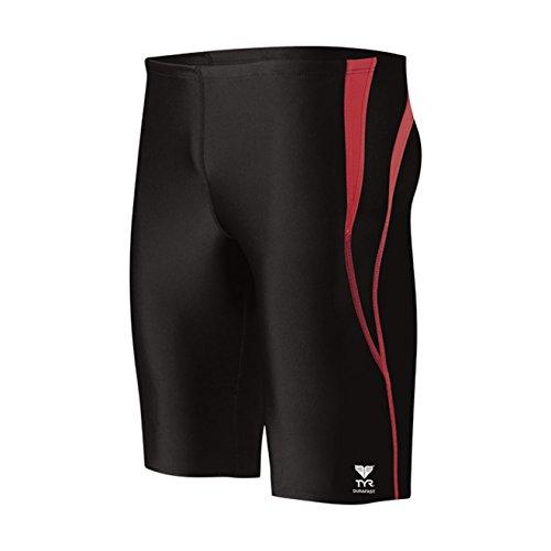 45d4df62c8e2c TYR Men's Alliance Durafast Splice Jammer Swim Suit (Black/Red, 34)