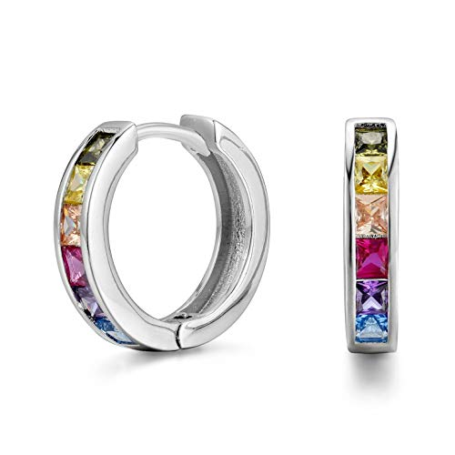 Earrings Brass Rhodium Plated - NYC Sterling Women's 20mm Rainbow Cubic Zirconia Hoop Earrings (Rhodium-Plated-Brass)