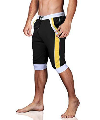 - MAGCOMSEN Capri Shorts for Men Jogger Pants Slim Fit Knee Length Shorts Gym Shorts Capri Pants Yoga Shorts 3/4 Jogger Sweatpants for Men Black