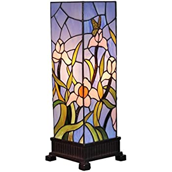 Amora lighting am1115tl06 tiffany style floral table lamp multi