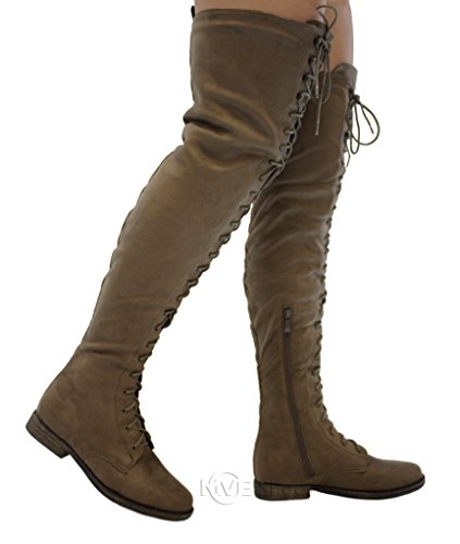 MVE Shoes Flat Lace up Over The Knee High Riding Boots, Taupe Size 6.5