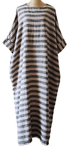 Dresses Essential Soojun Linen Maxi Women's Dolman Cotton Loose Stripe Grey vT5rx8wqg5