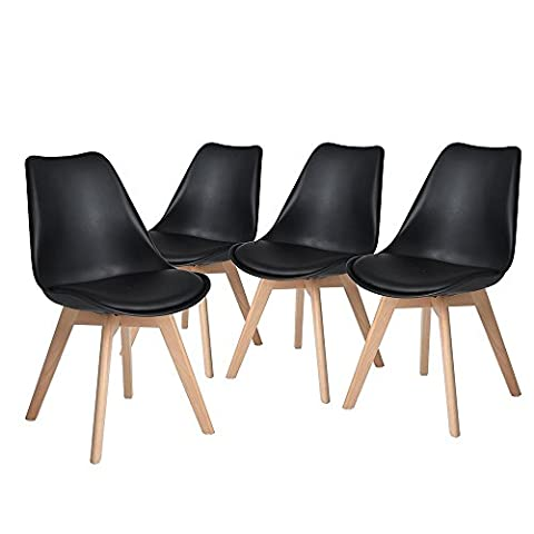 Set of 4 Black Dining Chairs,ELERANBE Armless Soft Upholstered Side Chair with Solid Natural Beech Wood Leg (Plastic Chairs Set Of 4)