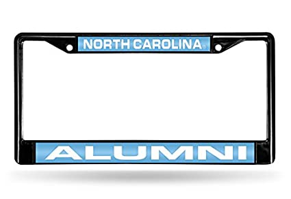 Rico Industries NCAA Alumni Laser Cut Inlaid Standard Chrome License Plate Frame Black