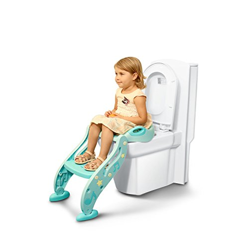 Pea Princess Toddlers Toilet Training Seat for boys and grils,Baby potty training toilet chair seat step, Non-Slip, Sturdy, Easy installation and storageAdjustable Height, Comfortable Seat,green