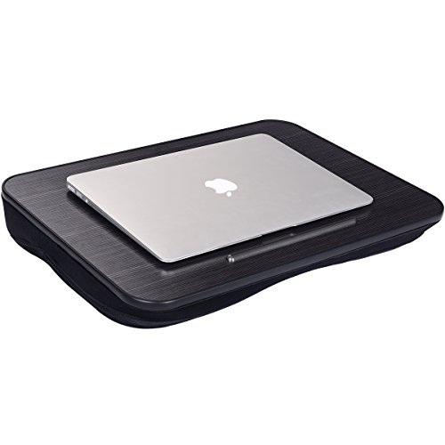 Lap Desk NNEWVANTE Multi-Function Knee Desk for Laptop MacBook iPad Tablet Fits up to 15.6in Portable Hand Pilliow, Comfortable Cushion- Square Black ()