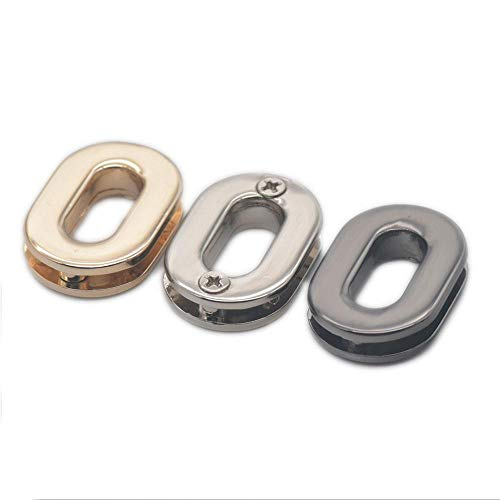(micoshop 12 PCS Oval Zinc Alloy Grommet Eyelets with Backing Screw for Clothes Handbag Canvas Leather Buckles Nickle)