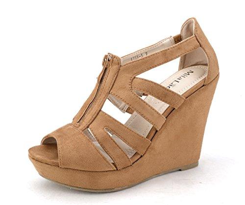 Mila Lady Lisa 5 Strappy Open Toe Platform Wedges Heeled Sandals Shoes for Women Camel 8.5