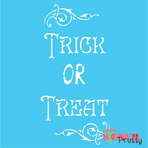 (Vintage Trick or Treat Stencil Sign - DIY Chic Halloween Decor - XS (5.5