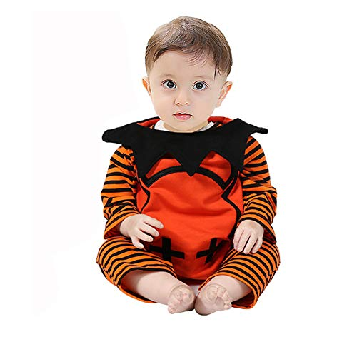 JanLEESi Baby Halloween Outfit Boy Girl Long Sleeve Pumpkin Stripe Romper+ Demon Wings Vest+ Devil Hat 3pcs Party Costume Set,6-9M