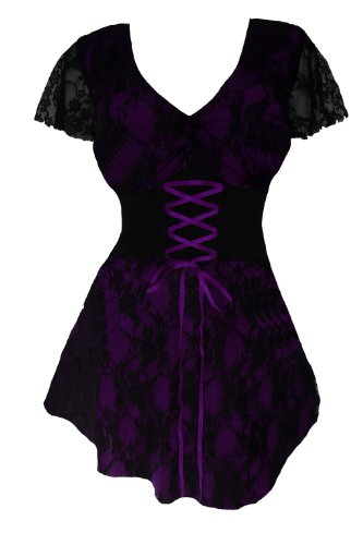 Dare to Wear Victorian Gothic Boho Women's Plus Size Sweetheart Corset Top Purple 1X