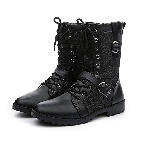 Autumn Winter Punk Martin Boots Men Fashion PU Leather Motorcycle Black Vintage Boots,Black,6.5